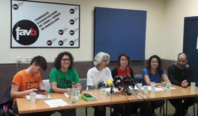Roda de premsa amb representants de les entitats uqe han fet les demandes Font: Favb
