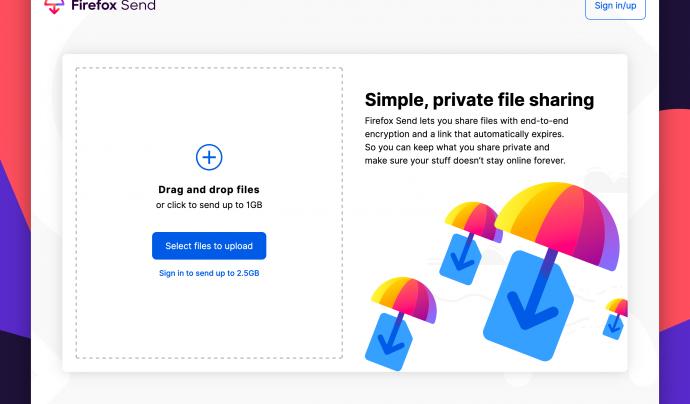 El funcionament de Firefox Send és molt senzill. Només heu d'arrossegar els fitxers a la web.  Font: Fundació Mozilla