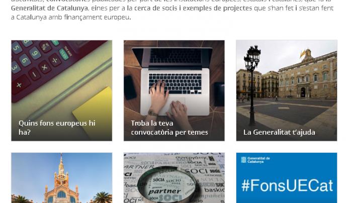 El portal #FonsUECat aplega les diverses convocatòries de finançament europees. Font: #FonsUECat