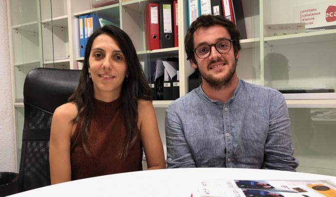 A l'esquerra de la imatge, Marina Claverías, responsable de voluntariat de l'Associació Quilòmetre Zero. Font: Associació Quilòmetre Zero