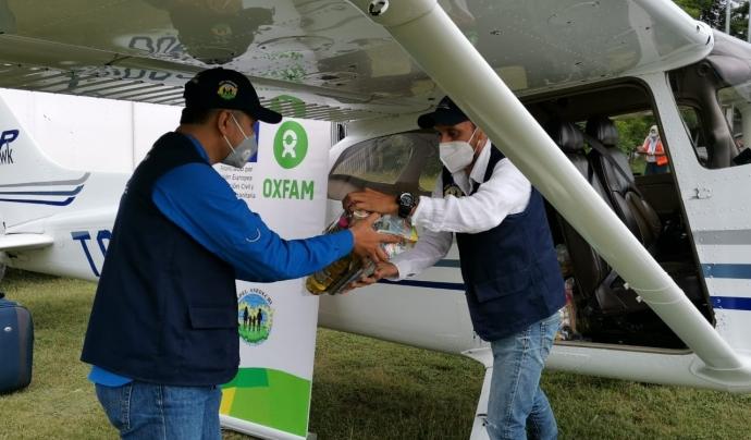 Des d'Oxfam Intermon s'estan enviant aliments i equipaments per albergs. Font: Oxfam Intermon