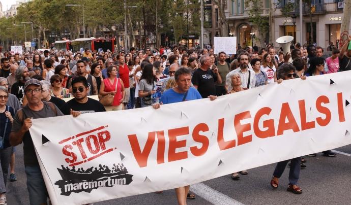 Ros denuncia la situació per la qual estan vivint les persones refugiades tant a Grècia com a l'Estat espanyol. Font: Stop Mare Mortum