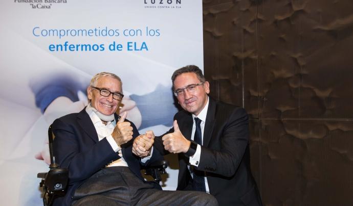 """Francisco Luzón, president de la fundació que porta el seu nom i Jaume Giró, director general de la Fundació Bancària """"la Caixa"""""""