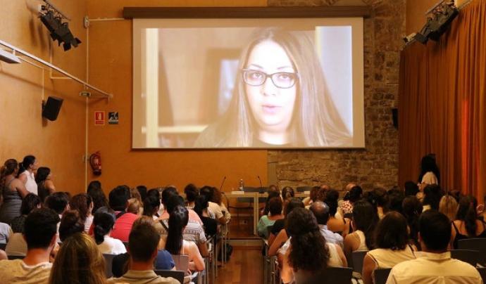 """Acte de presentació del vídeo sobre el projecte """"Mirades de futur"""" Font: desdelamina.net"""