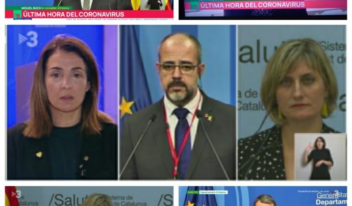 Rodes de premsa de la Generalitat de Catalunya amb interpretació de signes. Font: FESOCA