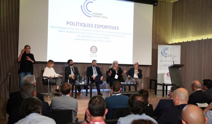 De dreta a esquerra, el vicepresident de l'UCEC Josep Monràs, la diputada d'Esports de la Diputació Maite Fandos, el secretari general de l'Esport de la Generalitat, Gerard Figueras, i el president de l'UFEC, Gerard Esteva