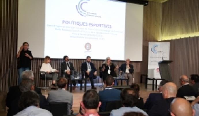Gerard Esteva, el segon per la dreta, amb la resta de ponents al Congrés de l'Esport Local Font: Diputació de Barcelona