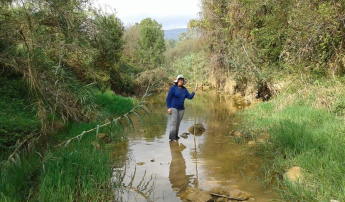 Inspecció al riu Francolí del grup de voluntariat ambiental de La Pobla (imatge: Associació Hàbitats)