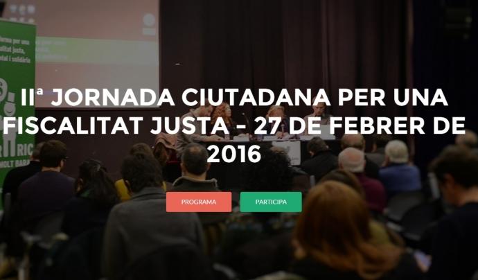 Cartell de l'edició de l'any passat de la Jornada Ciutadana per una Fiscalitat Justa. Font: Plataforma per una Fiscalitat Justa