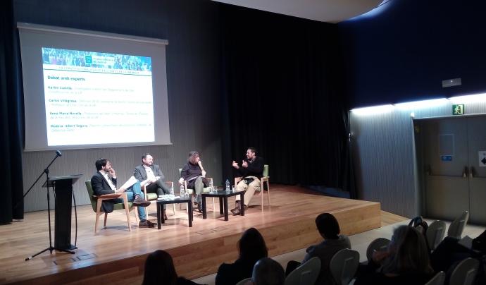 D'esquerra a dreta, Albert Segura, Carlos Villagrasa, Anna Maria Novella i Karlos Castilla, en el debat de dijous 16 de novembre Font: Júlia Hinojo