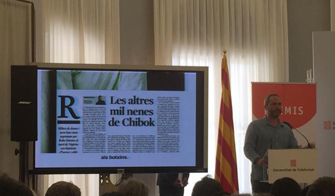 Xavier Aldekoa rebent un dels premis dels mitjans de comunicació