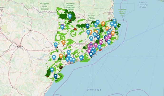 La majoria de comarques amb presència d'entitats de custòdia es roben en la meitat est de Catalunya.  Font: XCN