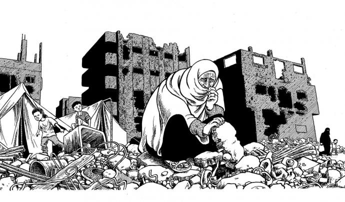 Il·lustració de Joe Sacco sobre el conflicte palestí on es veu una una dona i dos infants enmig de les runes d'una ciutat bombardejada.