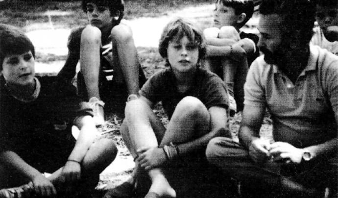 Joaquim Franch en un campament als Aiguamolls de l'Empordà, l'estiu de 1984.