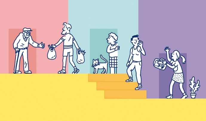 La Escalera és un projecte de recerca i creació col·lectiva que se centra a fomentar el contacte i l'ajuda mútua en les comunitats de veïns/es. Font: La Escalera