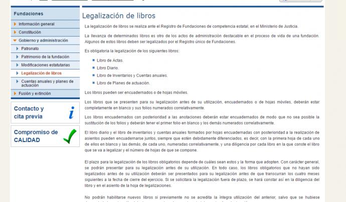 Captura de pantalla del web on s'expliquen els requisits de la legalització de llibres. Font: Ministeri de Justícia