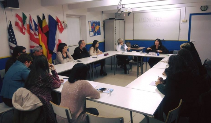 Reunió amb diverses persones col·laboradores - Foto: Lleida pels Refugiats