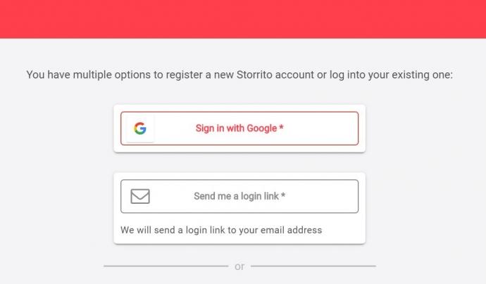 Com registrar un compte a Storrito? Font: Storrito