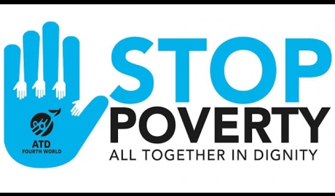 Logo d'Stop Poverty. Font: ATD Fourth World