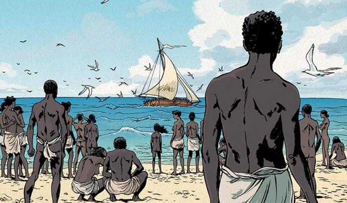 Els esclaus de Tromelin esperant que els rescatin. Font: Sylvain Savoia