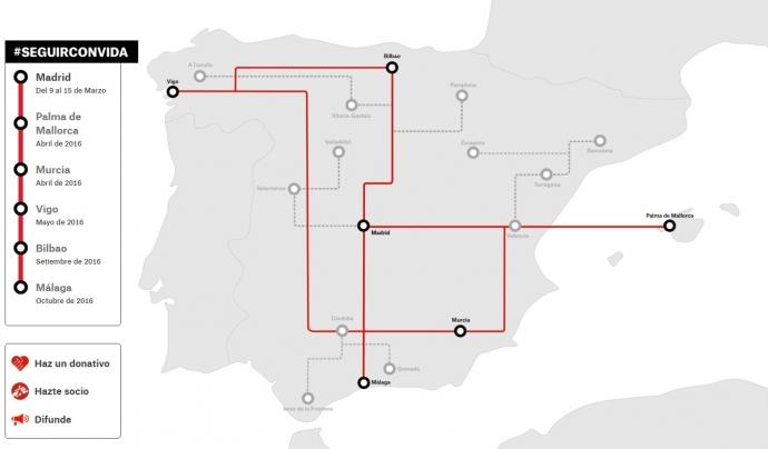 Mapa de les ciutats que hi participen. Font: MSF