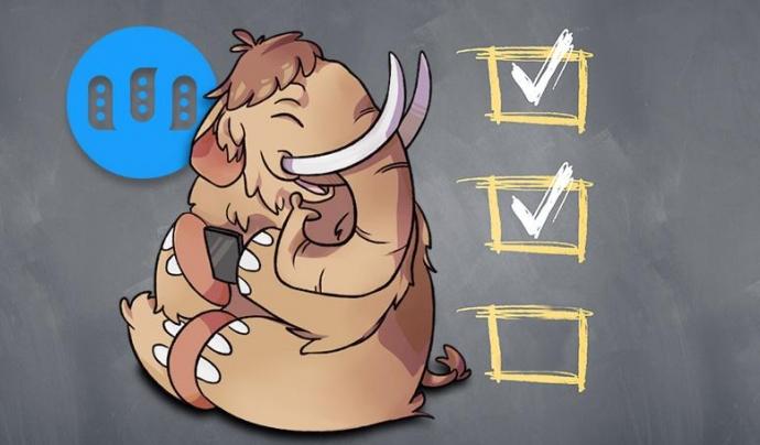 El mamut que vol esclafar l'ocell, el logo de la xarxa de microblogging Mastodon.