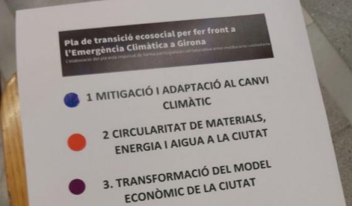 El grup de treball va definir cinc horitzons a partir dels quals elaborar el Pacte de ciutat per la Transició Ecosocial. Font: Twitter: @somnatus