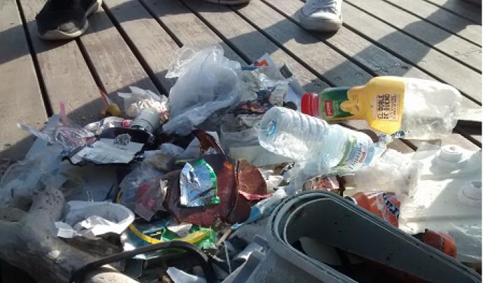 Residus plàstics trobats a la platja i a les roques (imatge: Escola Lluís Borràs)