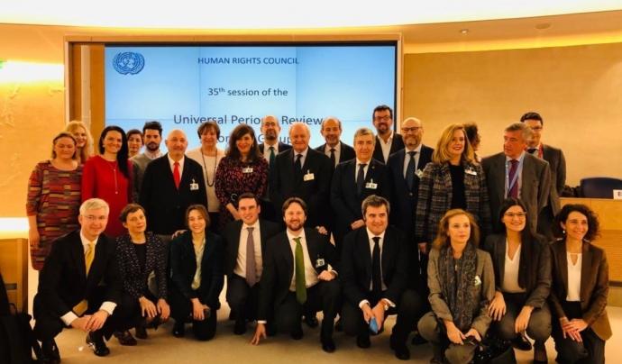 La delegació espanyola va estar encapçalada pel secretari d'Estat d'Assumptes exteriors, Fernando Valenzuela Marzo. Font: @UN_HRC