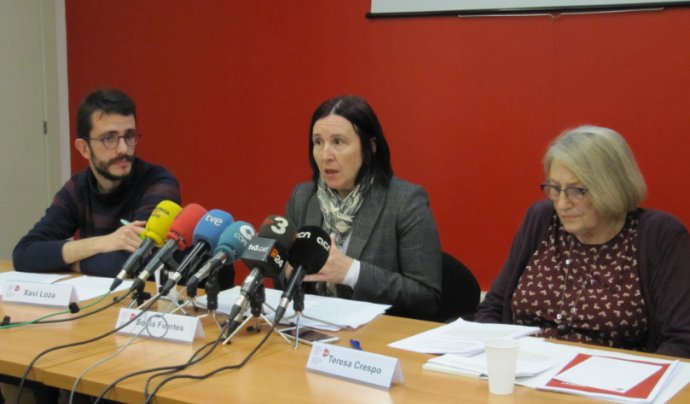 Sònia Fuertes, presidenta d'ECAS, a la roda de premsa de presentació de l'informe. Font: ECAS