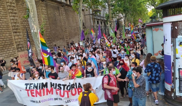 Manifestació pels drets del col·lectiu LGBTI sota el lema 'Tenim història, tenim futur. Unim els colors de totes les lluites'. Font: Crida LGBTI