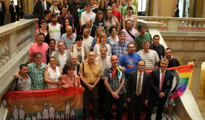 La Plataforma d'entitats  LGTBI al Parlament el dia 17 de juliol de 2013, en què es va donar llum verda a la Llei contra la LGTBfòbia