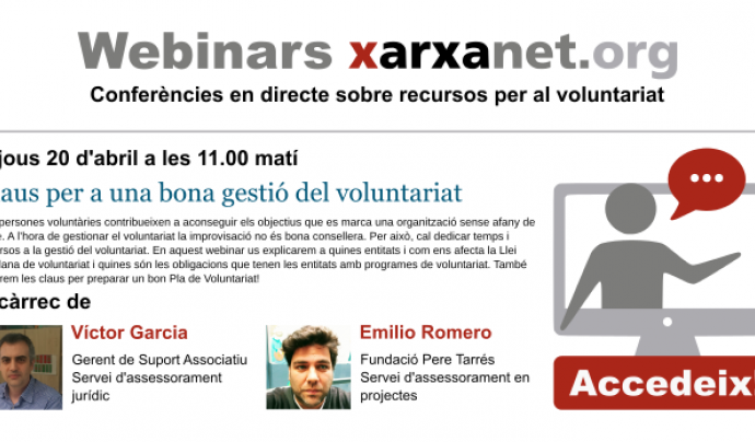 Pop-up del webinar sobre gestió del voluntariat Font: El Teb