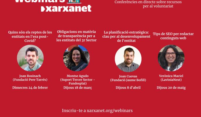 El nou cicle de webinars de Xarxanet tindrà una periodicitat mensual. Font: Xarxanet