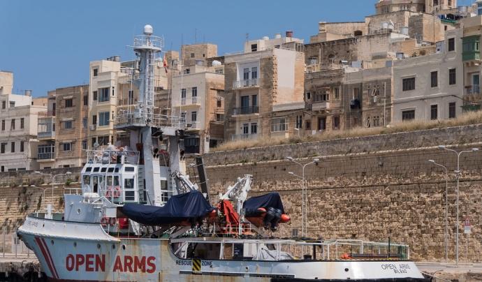 Vaixell de l'Open Arms desembarcant. Font: Norbert Möller, Flickr