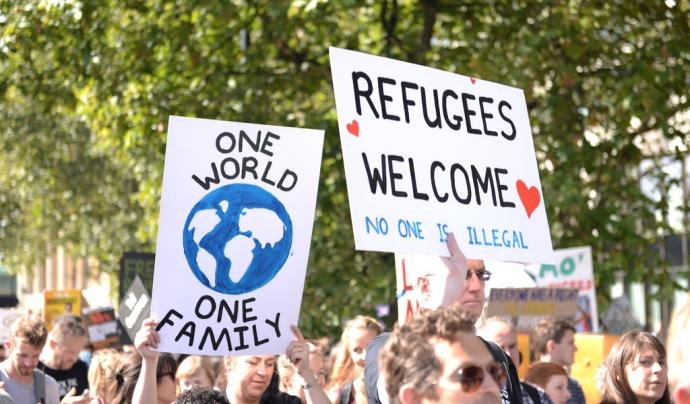 Manifestació en suport a l'acollida de persones refugiades.