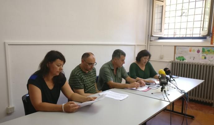 Les entitats signants del manifest van fer una roda de premsa el 9 de juliol de 2018