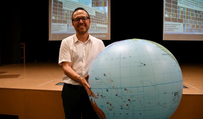 Salvador Samitier després de la xerrada que va protagonitzar al Centre Esplai de Fundesplai. Font: Fundesplai. Font: Fundesplai