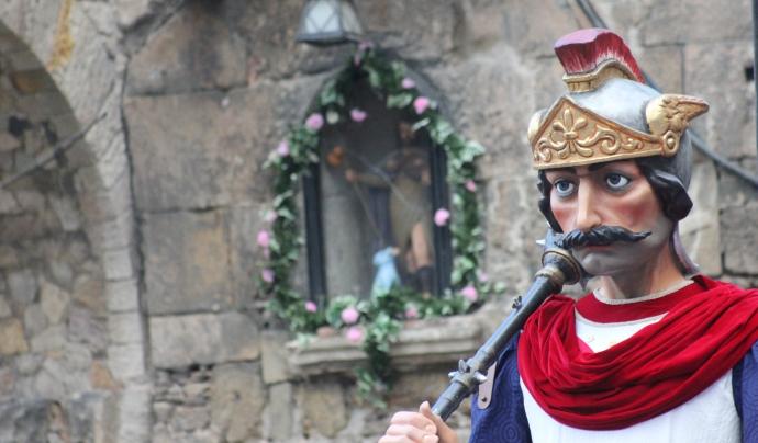 El gegant de Sant Roc, durant un acte de les festes de Sant Roc de la Plaça Nova. Font: Associació de Festes de la Plaça Nova