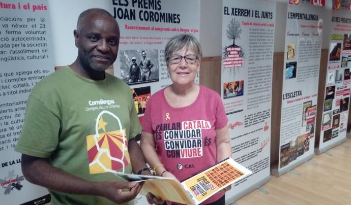 Saoka Kingolo i Mercè López, membres de la Coordinadora d'Associacions per la Llengua Catalana. Font: Júlia Hinojo. Font: Júlia Hinojo