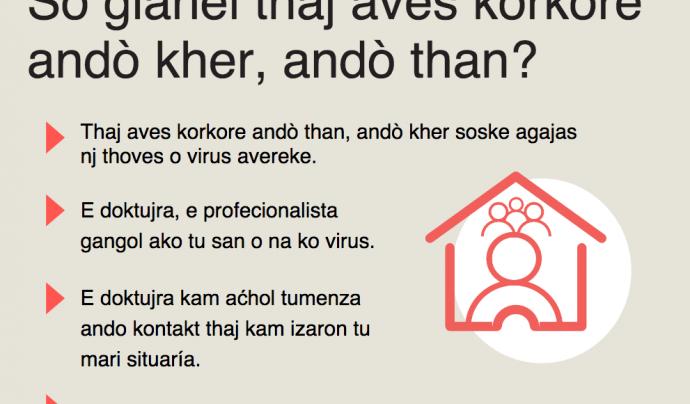 Cartelleria sobre el Coronavirus en romanès Font: Generalitat de Catalunya