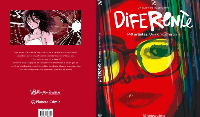 Diferent és una novel·la gràfica on han participat més de 140 artistes referents en el món del còmic. Font: Dibuixos per Somriures. Font: Font: Dibuixos per Somriures.