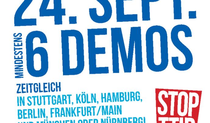 Són previstes manifestacions al setembre en diversos indrets d'Europa (imatge: TTIP uns CETA Stoppen)