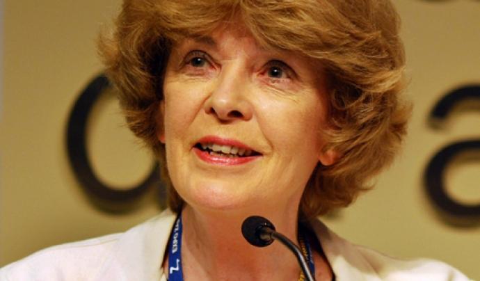 Susan George assisteix a la Jornada (imatge: AttacMadrid)