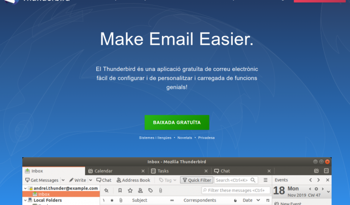 Mozilla Thunderbird és un sistema-client de correu electrònic Font: Mozilla Thunderbird