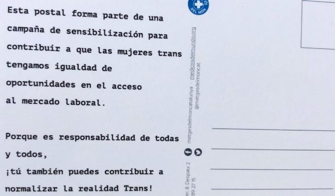 Revers de la postal contra la discriminació laboral de les transsexuals
