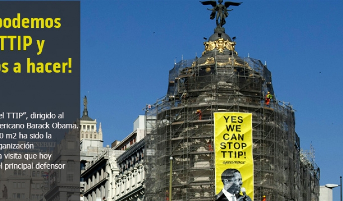 Imatge de la acció de Greenpeace durant la visita d' Obama a Madrid (imatge: greenpaece.org/españa)