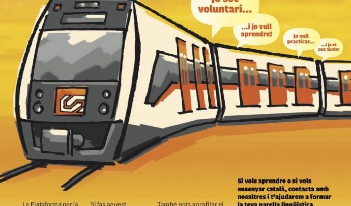 """Cartell de la iniciativa """"El Tren de la llengua"""", que promou les parelles lingüístiques als trens"""