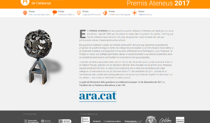 Web Premi Votació Popular Premis Ateneus 2017