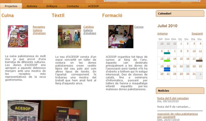 Portada de la plana web d'ACESOP